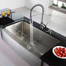 "35.9"" x 20.75"" Farmhouse Kitchen Sink with Faucet and Soap Dispenser"