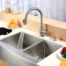 "33"" x 20.75"" Farmhouse Double Bowl Kitchen Sink with Faucet and Soap Dispenser"