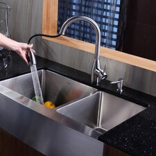 "<strong>Kraus</strong> 35.9"" x 20.75"" Double Bowl Farmhouse Kitchen Sink with Faucet and Soap Dispenser"