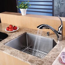 "21"" x 16.75"" Undermount 70/30 Kitchen Sink with Faucet and Soap Dispenser"