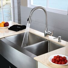 "32.9"" x 20.75"" x 10"" Farmhouse Double Bowl Kitchen Sink with Faucet and Soap Dispenser"