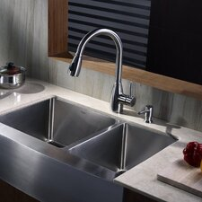 "32.9"" x 20.75"" x 10""  8 Piece Farmhouse Double Bowl Kitchen Sink Set"