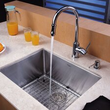 "21"" x 16"" Undermount Single Bowl Kitchen Sink with 15"" Faucet and Soap Dispenser"