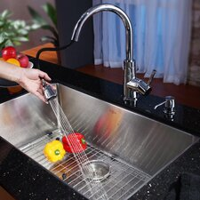 "28"" x 16"" Undermount Single Bowl Kitchen Sink with Faucet and Soap Dispenser"