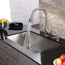 "32"" x 19"" Undermount Single Bowl Kitchen Sink and Faucet with Soap Dispenser"