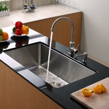 "32"" x 19"" Undermount Kitchen Sink with Faucet and Soap Dispenser"