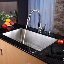 "30"" x 17"" Undermount Single Bowl Kitchen Sink with Faucet and Soap Dispenser"