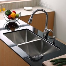 "32.75"" x 19"" 8 Piece Undermount Double Bowl 50/50 Kitchen Sink Set"