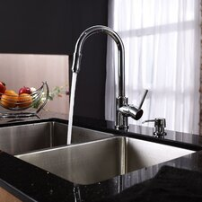 "32.75"" x 19"" Undermount 70/30 Double Bowl Kitchen Sink with 15"" x 7"" Faucet and Soap Dispenser"