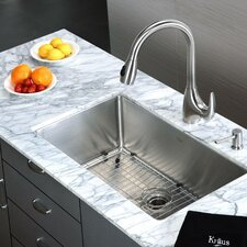 "30"" x 18"" Undermount Single Bowl Kitchen Sink and Pull Out Faucet with Soap Dispenser"