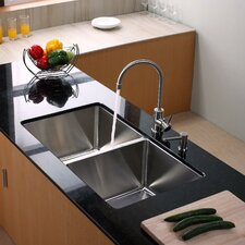 "32.75"" x 19"" Undermount Double Bowl Kitchen Sink with Faucet and Soap Dispenser"