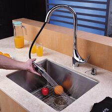 "23"" x 18"" Undermount Single Bowl Kitchen Sink with 19"" Faucet and Soap Dispenser"