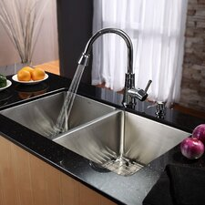 "32.75"" x 19"" Undermount 50/50 Double Bowl Kitchen Sink with Faucet and Soap Dispenser"