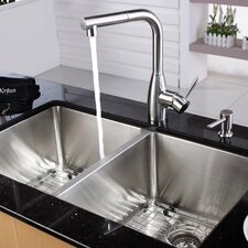 "32.75"" x 19"" x 10"" Undermount 50/50 Double Bowl Kitchen Sink with 13"" Faucet and Soap Dispenser"