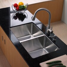 "32.75"" x 19"" x 10"" Undermount Double Bowl 50/50 Kitchen Sink with Faucet and Soap Dispenser"