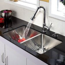 "32.75"" x 19"" Double Bowl Kitchen Sink with Faucet and Soap Dispenser"