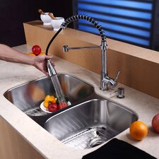"<strong>Kraus</strong> 32"" x 20.75"" Undermount 60/40 Double Bowl Kitchen Sink Set"