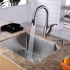"<strong>Kraus</strong> 23"" x 18.75"" Undermount Single Bowl Kitchen Sink with Faucet and Soap Dispenser"
