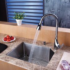 "21"" x 16.75"" Undermount Single Bowl Kitchen Sink with 18.5"" x 9"" Faucet and Soap Dispenser"