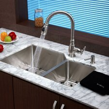 "32"" x 20"" 8 Piece Undermount Double Bowl Kitchen Sink Set"
