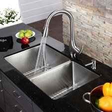 "32.75"" x 19""  8 Piece Undermount Single Bowl Kitchen Sink Set"