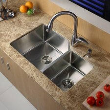 "32"" x 20"" Double Bowl Undermount Kitchen Sink with Faucet and Soap Dispenser"