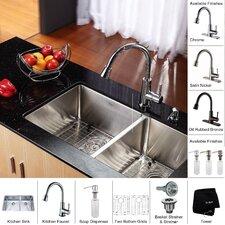 """32.75"""" x 19""""  8 Piece Undermount Double Bowl Kitchen Sink Set"""
