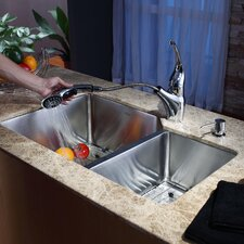 "32"" x 20"" Undermount 70/30 Kitchen Sink with Faucet and Soap Dispenser"