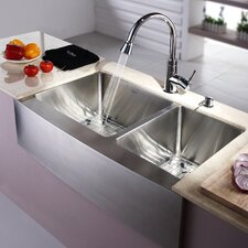 "<strong>Kraus</strong> 32.9"" x 20.75"" 8 Piece Farmhouse Double Bowl Kitchen Sink Set"