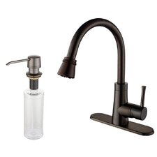 One Handle Single Hole Kitchen Faucet with Soap Dispenser and Pull Out Spray