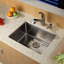 "23"" x 18"" Undermount Kitchen Sink with Faucet and Soap Dispenser"