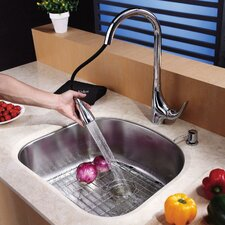 "23.25"" x 20.88"" Undermount Single Bowl Kitchen Sink with 18.5"" Faucet and Soap Dispenser"