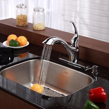 "Stainless Steel 23"" x 17.75"" Undermount Single Bowl Kitchen Sink with 11"" Kitchen Faucet and Soap Dispenser"