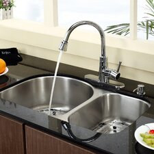 "Stainless Steel 30"" x 19.5"" Undermount Double Bowl Kitchen Sink with 14.9"" Kitchen Faucet and Soap Dispenser"