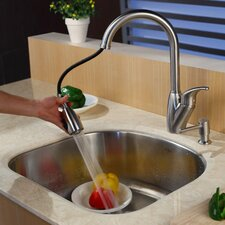 "23.25"" x 20.88"" Undermount Single Bowl Kitchen Sink with Faucet and Soap Dispenser"