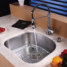 "23.25"" x 20.88"" Undermount Kitchen Sink with Faucet and Soap Dispenser"