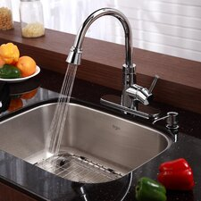 "Stainless Steel 23"" x 17.75"" Undermount Single Bowl Kitchen Sink with 14.9"" Kitchen Faucet and Soap Dispenser"