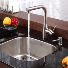 "Stainless Steel 20"" x 17.75"" Undermount Single Bowl Kitchen Sink with 13.25"" Kitchen Faucet and Soap Dispenser"
