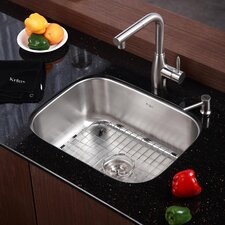 "Stainless Steel 23"" x 17.75"" Undermount Single Bowl Kitchen Sink with 13.25"" Kitchen Faucet and Soap Dispenser"