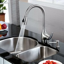 "30"" x 19.5"" Undermount Double Bowl Kitchen Sink and Faucet with Soap Dispenser"