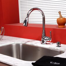 "31.5"" x 18.38"" Undermount Single Bowl Kitchen Sink with Faucet and Soap Dispenser"