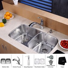 8 Piece Undermount Double Bowl Kitchen Sink Set