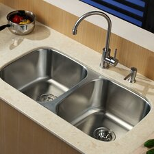 "<strong>Kraus</strong> 32.25"" x 18.5"" Contemporary Undermount Double Bowl Kitchen Sink with Faucet and Soap Dispenser"