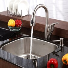 "20"" x 17.75"" 6 Piece Undermount Single Bowl Kitchen Sink Set"