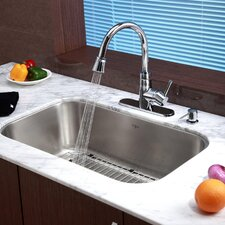 "Stainless Steel 31.5"" x 18.38"" Undermount Single Bowl Kitchen Sink with 14.9"" Kitchen Faucet and Soap Dispenser"