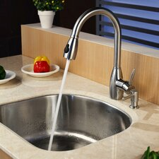 "23.25"" x 20.88"" Single Bowl Undermount Kitchen Sink with Faucet and Soap Dispenser"