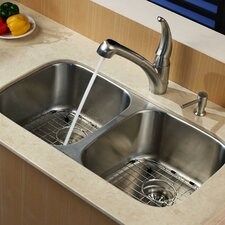 "32.25"" x 18.5"" Undermount Double Bowl Kitchen Sink with Faucet and Soap Dispenser"