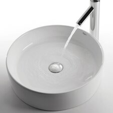 <strong>Kraus</strong> Ceramic Round Bathroom Sink with Sheven Single Lever Faucet
