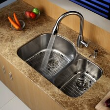 "31.5"" x 20.5 Undermount Double Bowl 60/40 Kitchen Sink"