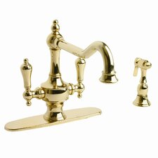 Isonzo Two Handle Centerset Kitchen Faucet with Side Spray